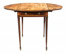 A George III Mahogany Pembroke Table Height 27 1/2 x width 20 1/2 x depth 30 1/4 inches.