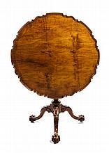 A George III Mahogany Tilt-Top Tea Table Height 29 1/4 x diameter 34 1/4 inches.