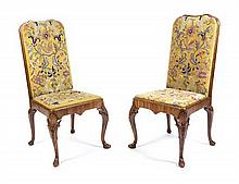 A Pair of George II Style Walnut Side Chairs Height 42 inches.