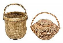 * Two Woven Baskets Height of taller 23 1/2 x diameter 15 3/4 inches.