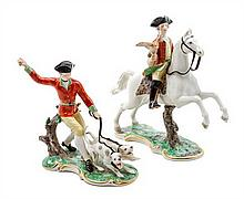 A Nymphenburg Porcelain Figural Group Height of first 8 1/2 inches.