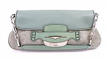 * A Tod's Seafoam Green and Leather Suede Bag,