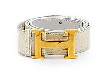 * An Hermes White Embossed Leather Constance Belt, 33 1/2 inches.
