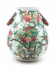 A Polychrome Porcelain Vase Height 18 inches.