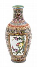 A Famille Rose Porcelain Vase Height 7 1/4 inches.