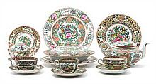 * A Collection of Rose Medallion Porcelain Articles Width of first 17 1/2 inches.