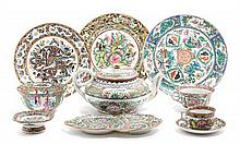 * A Collection of Rose Medallion Porcelain Articles Diameter of first 8 inches.