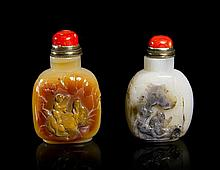 Two Carved Agate Snuff Bottles Height of tallest 3 1/2 inches.