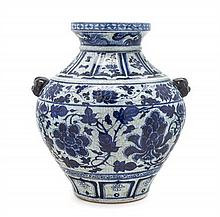 A Chinese Blue and White Porcelain Zun Vase Height 15 1/4 inches.