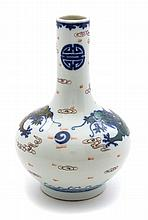 A Blue and White and Famille Rose Porcelain Dragon Vase Height 8 inches.