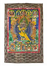 A Tibetan Thangka Height visible 35 x width 25 3/4 inches.