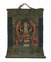 A Tibetan Thangka Height visible 10 1/8 x width 9 1/8 inches.