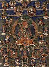 A Tibetan Thangka Height 26 x width 21 inches.