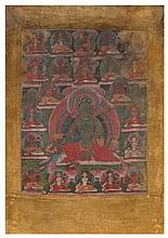 A Tibetan Thangka Height of image 16 1/8 x width 12 1/4 inches.