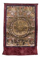 A Tibetan Thangka Height of image 30 7/8 x width 22 inches.