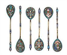 Six Russian Silver-Gilt and Enamel Teaspoons, Moscow, Late 19th Century, comprising three pair, all enamelled on spoon backs with multi