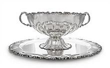 A Silver Two-Handled Punch Bowl and Matching Tray, Probably Mexican, Mid 20th Century, each of circular form with lobed bowl and rim, b