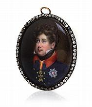 * A Rose Gold and Diamond-Mounted Enamel Portrait Miniature of William IV, Attributed to William Essex, Circa 1830, the oval miniature