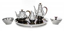 * An American Silver Five-Piece Tea and Coffee Set and Matching Tray, Gorham Mfg. Co., Providence, RI, 1956.