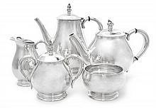 An American Silver Five-Piece Tea and Coffee Set, International Silver Co., Meriden, CT, Mid 20th Century, Royal Danish pattern, compri