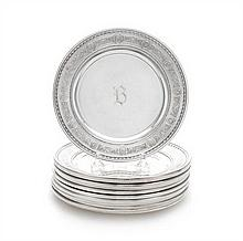 A Set of Twelve American Silver Bread Plates, International Silver Co., Meriden, CT, Circa 1925, Wedgwood pattern, the borders decorate