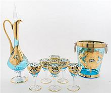 A Venetian Glass Drink Service Height of decanter 14 inches.