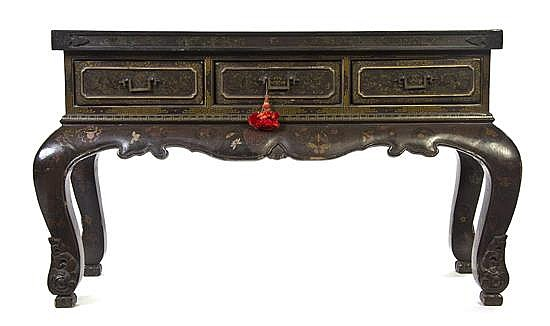 A Chinese Export Black and Polychrome Lacquered Console, Height 35 x length 55 1/4 x depth 20 1/4 inches.