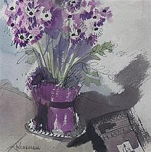 Anne Krasnan, (Wisconsin, 1909-1980), Still Life with Flowers and Book