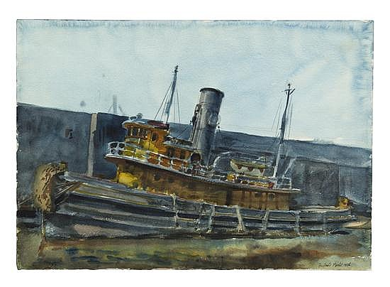 Reginald Marsh, (American, 1898-1954), Tug Boat, 1936