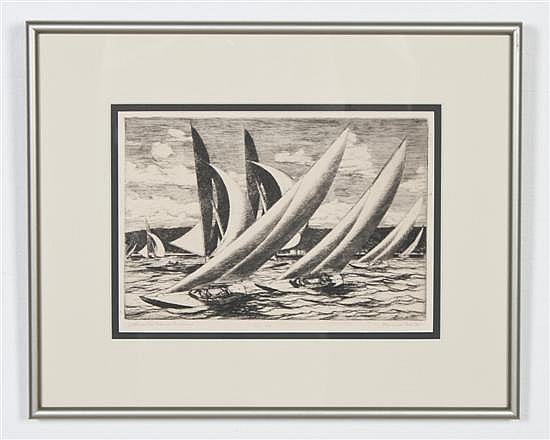 *Gerald Sargent Foster, (American, 1900-1987), Atlantic Class, Racing