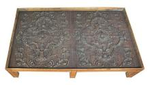 A Pair of Continental Carved Oak Panels Height 18 x length 82 1/4 x width 48 inches.
