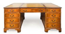 A George II Walnut Partner's Desk Height 31 x width 47 x length 72 inches.