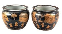A Pair of Chinese Porcelain Jardinieres Height 8 1/4 inches.