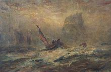 Robert B. Hopkin, (American, 1832-1909), Ship Bearing Down on Fisherman in Storm
