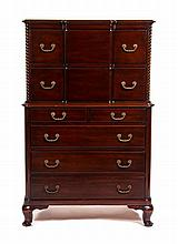 A Chippendale Style Mahogany Chest on Chest Height 56 x width 35 x depth 18 inches.