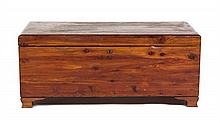 An American Pine Blanket Chest Height 18 x width 42 1/2 x depth 20 1/4 inches.