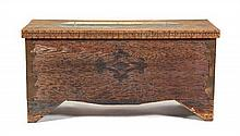 A Polychrome Decorated Oak Blanket Chest Height 25 x width 40 1/2 x depth 19 inches.