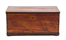 An American Pine Blanket Chest Height 14 1/2 x width 30 1/4 x depth 16 1/2 inches.