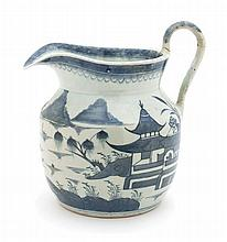 * A Chinese Porcelain Handled Pitcher Height 8 1/2 inches.