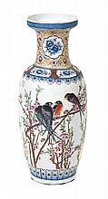 A Chinese Polychrome Enamel Floor Vase Height 24 1/4 inches.