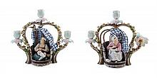 * A Pair of Continental Porcelain Three-Light Figural Candelabra Height 9 3/4 inches.