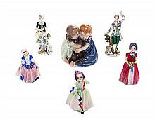 A Collection of Porcelain Figures and Figural Groups Height of tallest 7 1/2 inches.