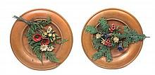 * Two Austrian Cold-Painted Bronze Plaques Diameter 13 1/2 inches.