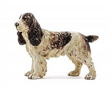 * An Austrian Cold-Painted Bronze Model of a Spaniel Height 5 7/8 inches.