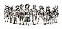 * A Set of Ten Italian Silver Commedia Dell' Arte Figures, Mabuti for Gianmaria Buccellati, Circa 1970, depicting nine men and one wom