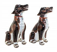 * A Pair of Chinese Export Porcelain Models of Dogs Height 23 inches.