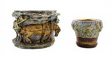 * Two Amphora Pottery Jardinieres Height of taller 9 1/2 inches x diameter 12 1/2 inches.