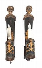 * A Pair of Continental Tole Painted Sconces Height 18 inches.