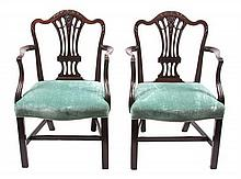 A Pair of English Mahogany Armchairs Height 36 inches.