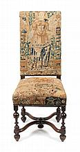 * A William and Mary Style Upholstered Hall Chair Height 44 inches.